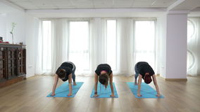 Girls doing synchronized yoga sequence at a gym stock footage