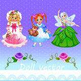 Girls doll and fairy on a purple background Stock Image