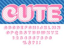 Free Girls Doll Font. Pink Princess Surprise, Lol Funny Child Letters And Retro Dotted Texture Alphabet Baby Girl Dolls Stock Image - 138923421