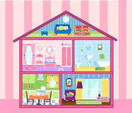 Girls doll house. Two floors storey Doll house with cute attic,  illustration Stock Image