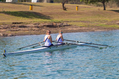 Girls Doubles Rowing Regatta Start Royalty Free Stock Image