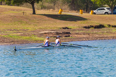 Girls Doubles Regatta Start Royalty Free Stock Image
