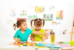 Girls draw Royalty Free Stock Image