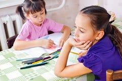 Girls drawing Royalty Free Stock Image