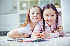 Girls drawing Royalty Free Stock Photo