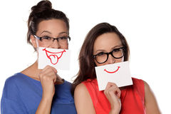 Girls with drawn smile Royalty Free Stock Images