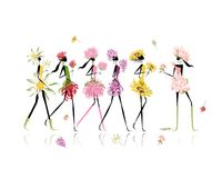 Girls dressed in floral costumes, hen party for Royalty Free Stock Photo