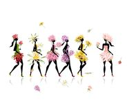 Girls dressed in floral costumes, hen party for Royalty Free Stock Photography