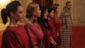 Girls dressed in roman costumes stock footage