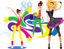 Girls dressed in the style of disco style Stock Image
