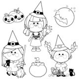 Children dressed in Halloween witch costumes. Black and white coloring book page vector illustration