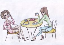 Girls drink coffee one speaks on the phone stock illustration