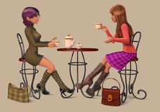 Girls drinking coffee. And talking Royalty Free Stock Photos