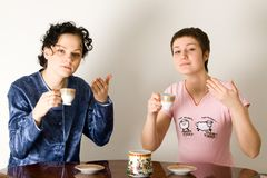 Girls Drinking A Tea Royalty Free Stock Image