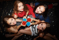 Girls with drinks Royalty Free Stock Photos