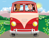 Girls driving a camper van in mountains Royalty Free Stock Images