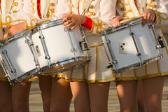 Girls with drums. On the parade Stock Image
