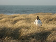 Girls Dunewalk. Girl walking through the Dune grass towards the beach Royalty Free Stock Images