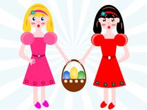 Girls with easter basket of eggs Stock Photos