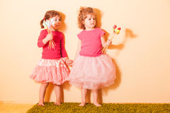 Girls on an Easter Egg hunt Stock Photo