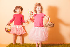 Girls on an Easter Egg hunt Stock Image