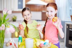 Girls with Easter symbols Stock Photography