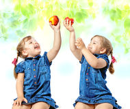 girls eat fruit, abstract background Royalty Free Stock Image
