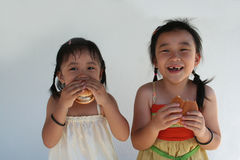 Girls eating burger. Two little girls holding and biting a hamburger Royalty Free Stock Photo