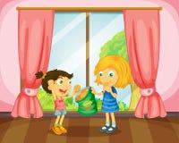 Girls eating cookies in room royalty free illustration