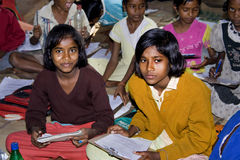 Girls Education. A group of girls studying at primary school in rural areas in India Royalty Free Stock Photos