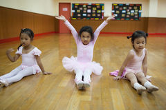 Girls in elementary school, take a course of classical dance. Stock Image