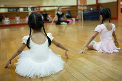 Girls in elementary school, take a course of classical dance. Royalty Free Stock Photos