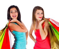 Girls Enjoy Shopping Together Stock Photography