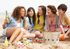 Girls Enjoying Barbeque On Beach Together. Group Of Girls Enjoying Barbeque On Beach Together Royalty Free Stock Images
