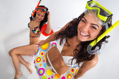 Girls is enjoying in mask with snorkel Royalty Free Stock Images