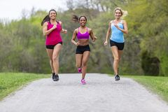 3 Girls Enjoying The Park On A Run Before Work royalty free stock photography