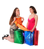 Girls enjoying shopping Stock Photos