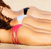 Girls Enjoying Sunny Day at the Beach Stock Photography