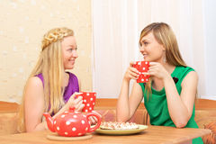 Girls Enjoying Tea Stock Photo