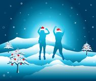 Women with hands up jumping and having fun on the top of mountain in the snow. vector illustration