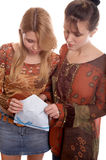 Girls with envelope Stock Photo