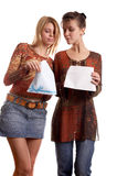 Girls with envelope Stock Photography