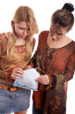 Girls with envelope Royalty Free Stock Image