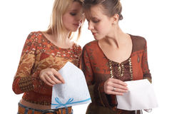 Girls with envelope Stock Image