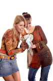 Girls with envelope and money Stock Photo