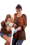 Girls with envelope and money stock image