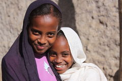 Girls in Ethiopia. Portrait of two girls in Harar, Ethiopia royalty free stock images
