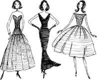 Girls in evening dress stock illustration