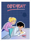 Girls on exams, copycat, Illustration. Education, A Copycat, Digital Illustration, Girl on exams, writes a pen answers in his notebook. Behind her the other girl stock illustration