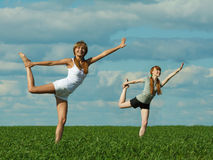 Girls exercising outdoors Royalty Free Stock Photo